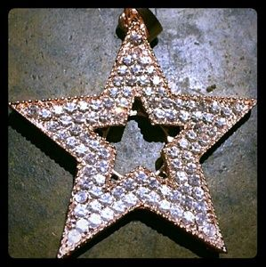 Gold & Crystal Large Star Charm/Pendant